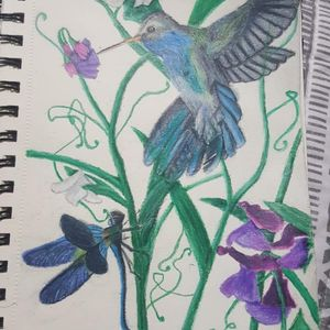 Heres a piece I did for a client for a half sleeve design with a realism style humming bird and dragon fly