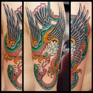 Eagle vs Snake tattoo 2018 #eagletattoo #snaketattoo #traditionaltattoo #romatattoo