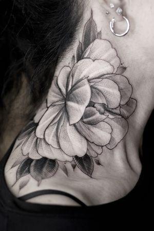 #peonytattoo #necktattoo #flowertattoo #blacktattoo #kievtattoo #graphictattoo #peony