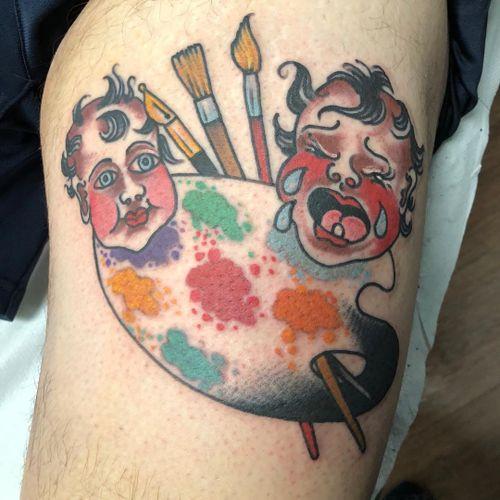 Tattoo by Chad Koeplinger #ChadKoeplinger #paintpalettetattoos #palettetattoos #painttattoos #artisttattoos #paint #brushes #art #fineart