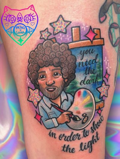 Tattoo by Mewo Llama aka Pastel Ghoul #MewoLlama #PastelGhoul #paintpalettetattoos #palettetattoos #painttattoos #artisttattoos #paint #brushes #art #fineart #bobross #stars #newschool