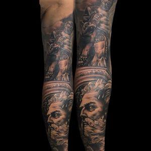 Greek gods full sleeve tattoo on progress