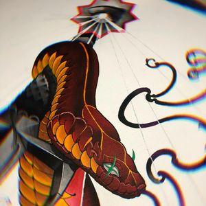 Sneeeeek painting im working on! #snaketattoo #snake #snakepainting #neotraditional #neo #neotraditionaltattoo #color #painting #sword #swordtattoo
