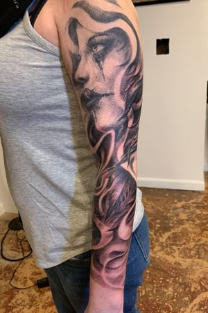 Sleeve in progress.. feel free to message me or call the shop for your next piece🤘🏻🤘🏻