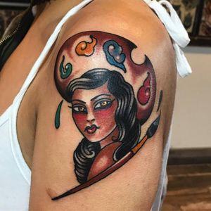 Tattoo by Dawn Cooke #DawnCooke #paintpalettetattoos #palettetattoos #painttattoos #artisttattoos #paint #brushes #art #fineart