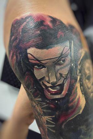 Jester #horror #horrortattoo #colortattoo #worldfamousink #tattooartist #ink