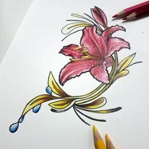 Lirio en Crayón