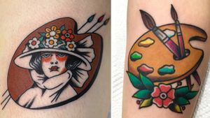 Tattoo on the left by Andrew Mongenas and tattoo on the right by Jin Seok Park #JinSeokPark #AndrewMongenas #paintpalettetattoos #palettetattoos #painttattoos #artisttattoos #paint #brushes #art #fineart