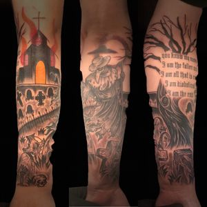 Freehand Grave Tattoo sleeve