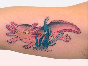 Tattoo by Brindi #Brindi #axolotltattoos #axolotl #animal #nature #amphibian #walkingfish #oceanlife #oceancreature