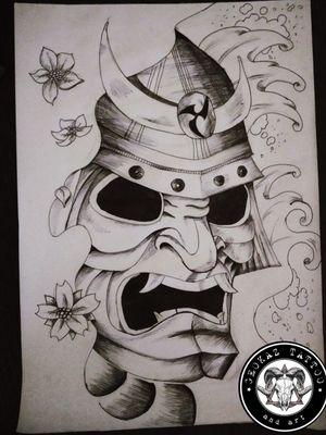 Traditional Japanese mask #japanese #mask #traditionalblackwork #art #sketch