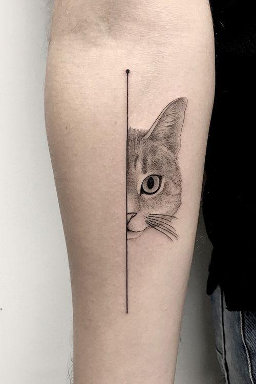 """""""Half cat"""" - MORE ON MY INSTAGRAM:  _mfox                     #art #tattoo #cat #geometric #tattoos #tattooart #blackandgrey #blackwork #blackworktattoo #fineline #dotwork #linework #italy"""