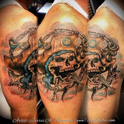 #vonzombie #vnzmb #tattoo #tattooartist #travelingart #artist #designer #creativity #creative #ink #international #worldwide #bodyart #illustration #pirate #skull #anchor