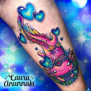Tattoo by Laura Anunakki #LauraAnunnaki #axolotltattoos #axolotl #animal #nature #amphibian #walkingfish #oceanlife #oceancreature