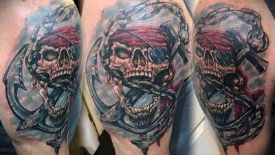 #vonzombie #vnzmb #tattoo #tattooartist #travelingart #artist #designer #creativity #creative #ink #international #worldwide #bodyart #illustration #skull #pirate #anchor