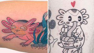 Tattoo on the left by Brindi and Tattoo on the right by Hugocide #Brindi #Hugocide #axolotltattoos #axolotl #animal #nature #amphibian #walkingfish #oceanlife #oceancreature