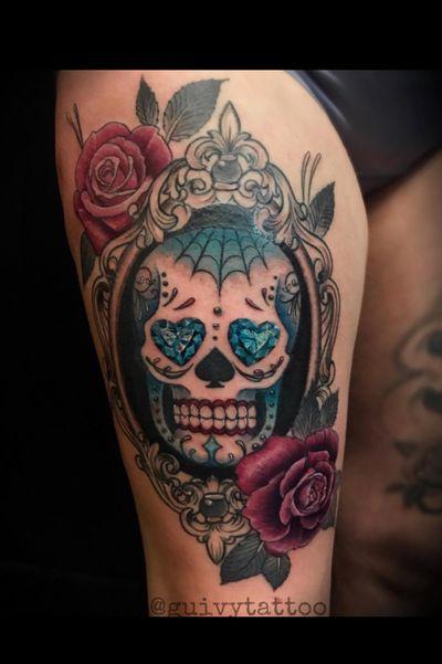 Guivy Hellcat - Art For Sinners - Geneva #guivy #tattoo #geneve #geneva #switzerland #tatouage #suisse #tatoueur #catrina #portrait #santamuerte #tattoosleeve #sleevetattoo #sleeve #tattoos #sugarskull #mexican #style #skull #skulltattoo