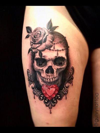 Guivy Hellcat - Art For Sinners - Geneva #guivy #tattoo #geneve #geneva #switzerland #tatouage #suisse #tatoueur #catrina #portrait #jewel #jeweltattoo #diamond #ornamentaltattoo #ornamental #heart #tatuaje #tatuagem #jewelry #inspiration #lace #girly #skull #skulltattoo #leg #thightattoo