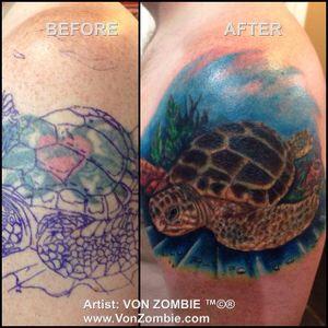 #vonzombie #vnzmb #tattoo #tattooartist #travelingart #artist #designer #creativity #creative #ink #international #worldwide #bodyart #illustration #coverup #turtle #sea