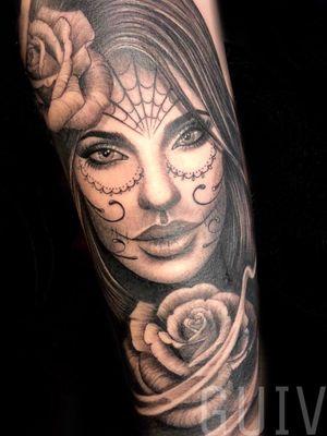 Guivy Hellcat - Art For Sinners - Geneva #guivy #tattoo #geneve #geneva #switzerland #tatouage #suisse #tatoueur #catrina #portrait # #ornamentaltattoo #ornamental #heart #tatuaje #tatuagem #jewelry #inspiration #lace #girly #catrinatattoo #santamuerte #mexican #mexicanskull #realism #blackandgrey #inked #sleeve