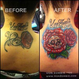 #vonzombie #vnzmb #tattoo #tattooartist #travelingart #artist #designer #creativity #creative #ink #international #worldwide #bodyart #illustration #coverup #roses #skull