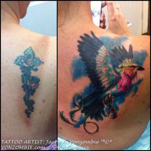 #vonzombie #vnzmb #tattoo #tattooartist #travelingart #artist #designer #creativity #creative #ink #international #worldwide #bodyart #illustration #coverup #bird