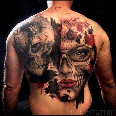 Guivy Hellcat - Art For Sinners - Geneva #guivy #tattoo #geneve #geneva #switzerland #tatouage #suisse #tatoueur #catrina #portrait #skull #santamuerte #catrinatattoo #tatuaje #tatuagem #trashpolka #inspiration #backpiece #backtattoo #realism #blackandgrey #skullgirl
