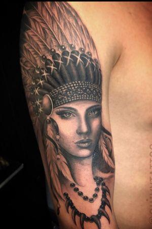 Guivy Hellcat - Art For Sinners - Geneva #guivy #tattoo #geneve #geneva #switzerland #tatouage #suisse #tatoueur #nativeamerican #cheyenne #portrait #tatuaje #tatuagem #inspiration #girly #woman #girl #sleeve #blackandgrey #realism #feather