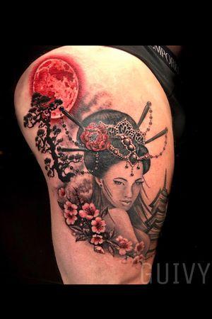 Guivy Hellcat - Art For Sinners - Geneva #guivy #tattoo #geneve #geneva #switzerland #tatouage #suisse #tatoueur #flower #geishattattoo #portrait #geisha #tightattoo #tigh #tattoosleeve #sleevetattoo #sleeve #tattoos #moon #japanese #geneva #geneve #switzerland #suisse #inspiration