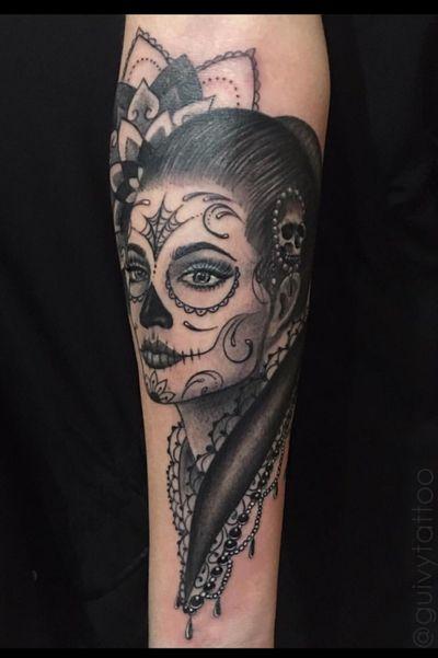 Guivy Hellcat - Art For Sinners - Geneva #guivy #tattoo #geneve #geneva #switzerland #tatouage #suisse #tatoueur #catrina #portrait #jewel #jeweltattoo #diamond #ornamentaltattoo #ornamental # #tatuaje #tatuagem #jewelry #blackandgrey #realism #inspiration #lace #girly #santamuerte #catrinatattoo #ornamental #sleeve #blackandgrey #mexican #mexicanskull