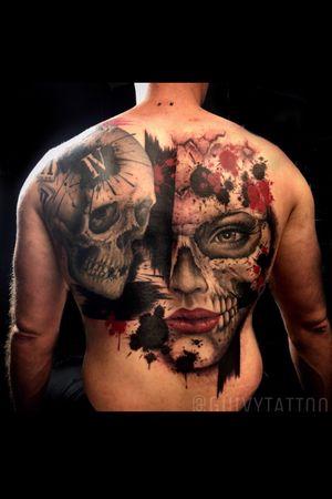 Guivy - Art For Sinners - Geneva #switzerland #swisstattoo #geneve #guivy #geneva #tattoo #catrina #backpiece #realism #trashpolka #portrait #skull #skulltattoo #tatouage #santamuerte