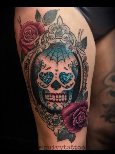 Guivy Hellcat - Art For Sinners - Geneva #guivy #tattoo #geneve #geneva #switzerland #tatouage #suisse #tatoueur #catrina #portrait #jewel #jeweltattoo #diamond #ornamentaltattoo #ornamental #heart #tatuaje #tatuagem #diamondtattoo #sugarskull #skull #mexicanskull #mexican #inspiration #lace #girly #baroque #burlesque #sleeve #thightattoo #leg