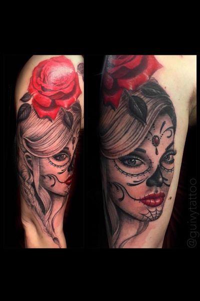 Guivy Hellcat - Art For Sinners - Geneva #guivy #tattoo #geneve #geneva #switzerland #tatouage #suisse #tatoueur #catrina #portrait #santamuerte #tattoosleeve #sleevetattoo #sleeve #tattoos