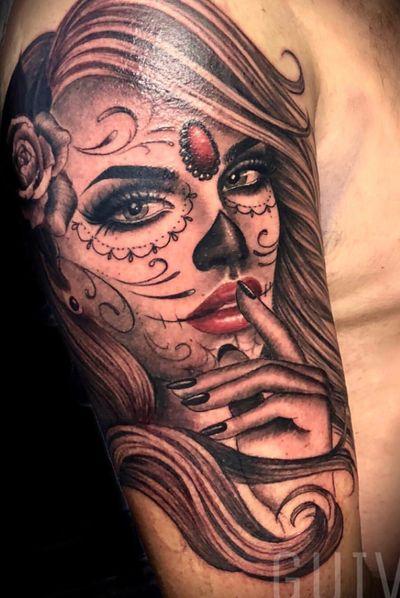 Guivy - Art For Sinners - Switzerland #geneva #geneve #tattoo #tatoueur #swiss #catrina #santamuerte #portrait #girl #tattoosleeve #catrina #guivy #tattoos