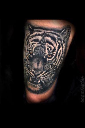 Guivy Hellcat - Art For Sinners - Geneva #guivy #tattoo #geneve #geneva #switzerland #tatouage #suisse #tatoueur #tiger #tigre #animal #portrait #tightattol #tattoosleeve #sleevetattoo #sleeve #tattoos #realism #realistic
