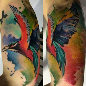Watercolor bird #watercolortattoo #birdtattoo #polandtattoo