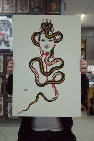 #andreivintikov #goodsign #snake #tattooflash #tattooart