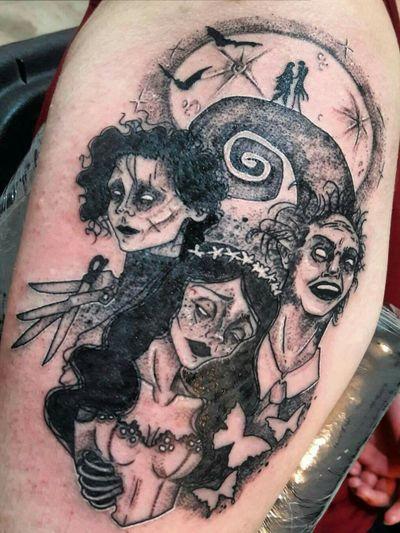 Tim Burton's inspired tattoo 🕸⚘ #tattoo #tattooedgirl #tattooartist #tattoodesign #TimBurton #edwardscissorhands #beetlejuice #nightmarebeforechristmas #corpesbride #ink #TattooStudioOcho #Aradisa