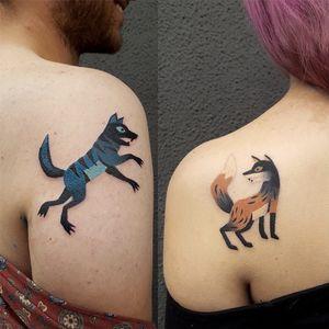 Tattoo by Bard Tjelta #BardTjelta #couplestattoos #valentinesday #love #couple #heart #matchingtattoos