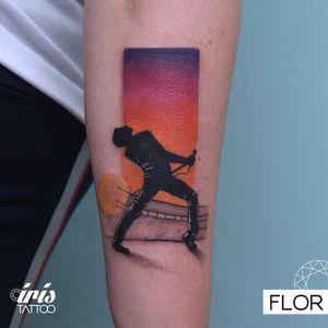 Tattoo by Flor of Iris Tattoo #Flor #IrisTattoo #queentattoos #queen #freddymercurytattoo #freddymercury #bohemianrhapsody #rockandroll #musictattoo