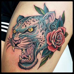Leopard tattoo 2017 - #leopardtattoo #traditionaltattoo #oldschooltattoo #neotraditionaltattoo #tattoodo #tattooroma #romatattoo