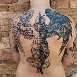 Tattoo anjo e demônio