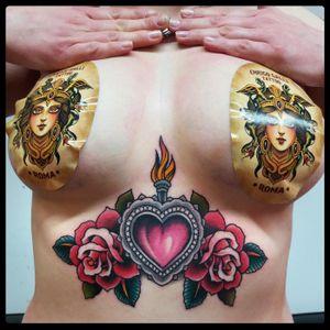 Sacred heart - tattoo 2017 - #sacredheart #boobs #tits #underboobs #underboobstattoo #tattoodo #romatattoo #traditionaltattoo #oldscholltattoo #tattooroma