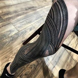 Full Samoan tribal leg tattoo