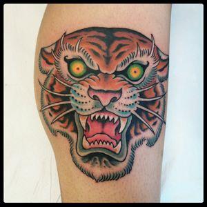 Tiger tattoo 2017 #tigertattoo #traditionaltattoo #oldschooltattoo #tattoodo #romatattoo #tattooroma