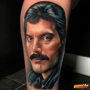 Tattoo by Chris Meighan #ChrisMeighan #queentattoos #queen #freddymercurytattoo #freddymercury #bohemianrhapsody #rockandroll #musictattoo #color #realism #realistic