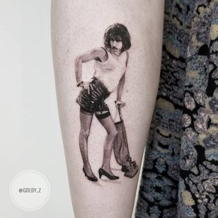 Tattoo by Goldy Z #GoldyZ #queentattoos #queen #freddymercurytattoo #freddymercury #bohemianrhapsody #rockandroll #musictattoo #realism #realistic #blackandgrey