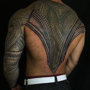 Full back and arm sleeve Samoan tribal