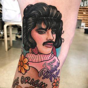 Tattoo by Clare Clarity #ClareClarity #queentattoos #queen #freddymercurytattoo #freddymercury #bohemianrhapsody #rockandroll #musictattoo #color #newschool #neotraditional