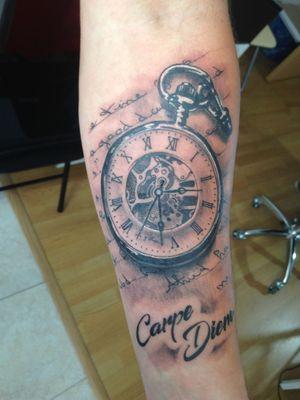 Pocket watch tattoo. #watchtattoo #blackandgreytattoo